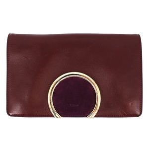 Chloé Purple & Gold Leather/Suede Gabrielle Clutch